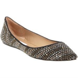 Steve Madden Jewel Studded Pointed Leather Flats